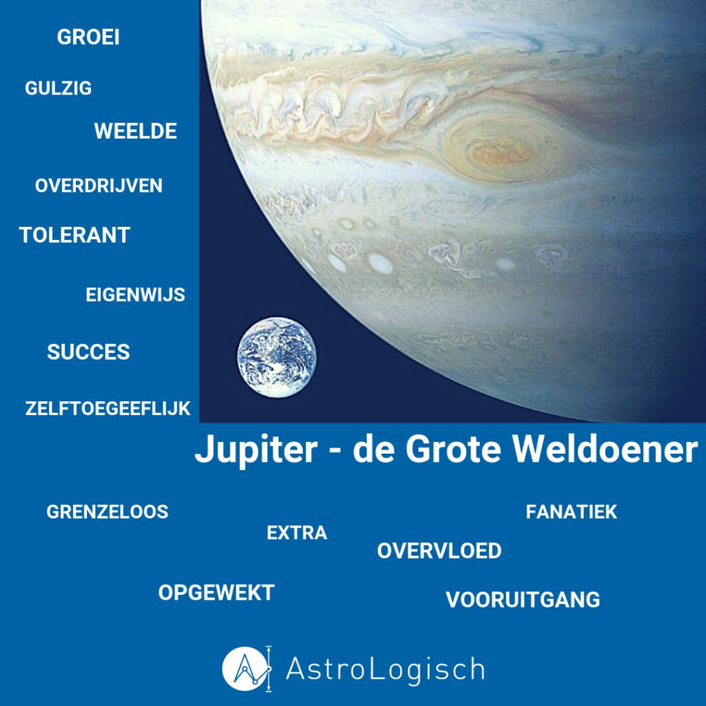 Jupiter, de Grote Weldoener, extra, overdreven, weelde, groei, overvloed, zelftoegeeflijk, optimist, tolerant