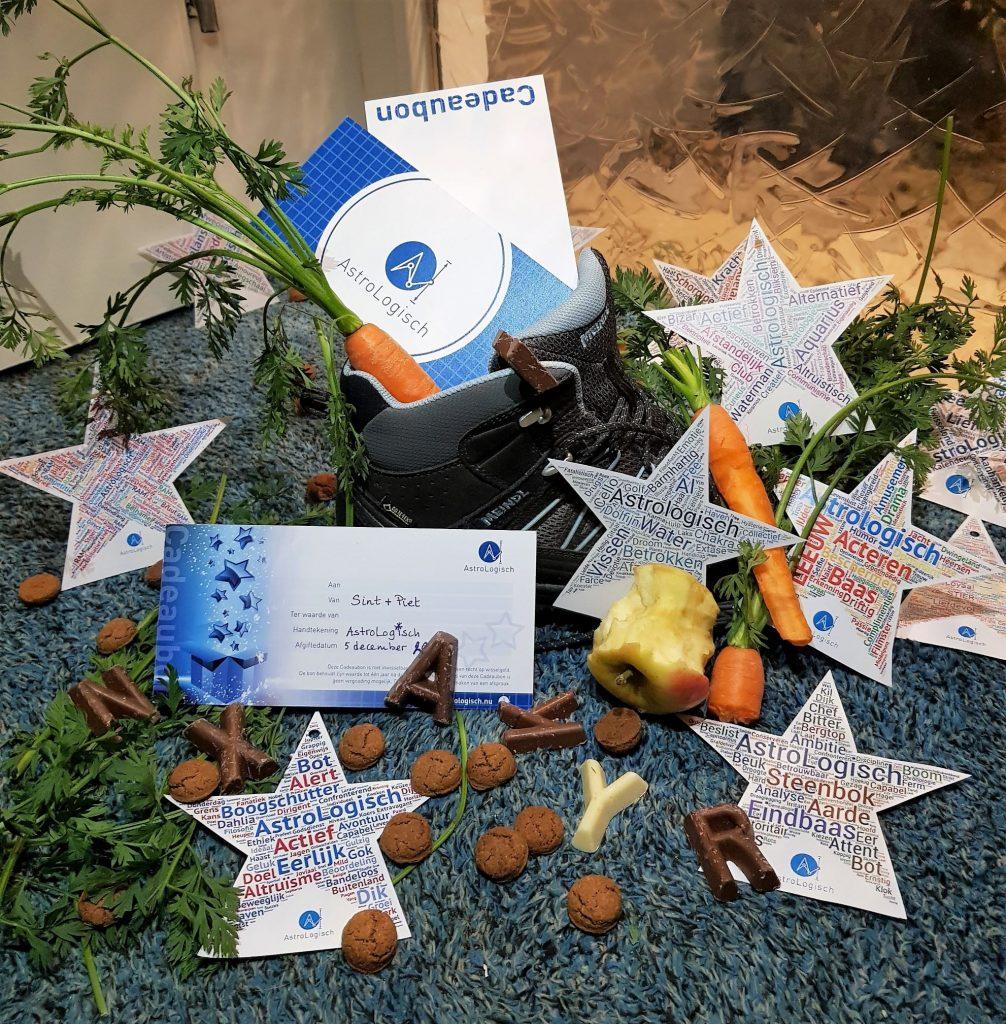 AstroLogisch cadeau, Sint, Sinterklaas, zak, schoen zetten, letters, pepernoten,