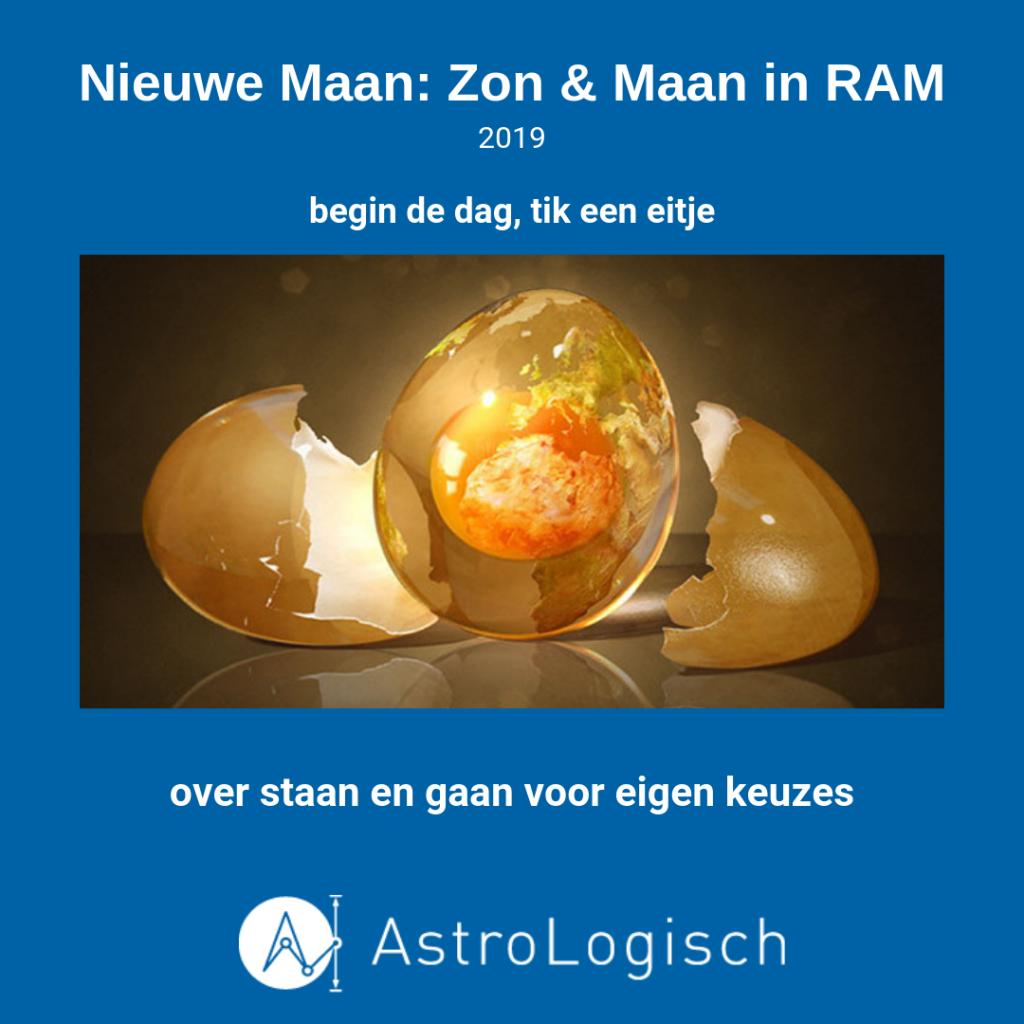 AstroLogische Nieuwe Maan 2019, Zon en Maan in Ram, nieuw begin, nieuwe fase, Eimaan,, start, begin de dag, tik een eitje, gaan en staan voor eigen keuzes