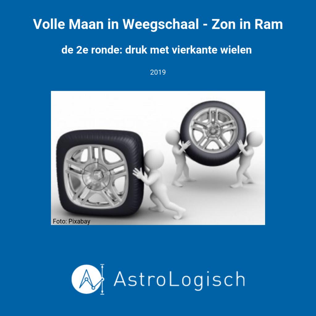 AstroLogisch Volle Maan in Weegschaal, Zon in Ram, met vierkante wielen door de bocht
