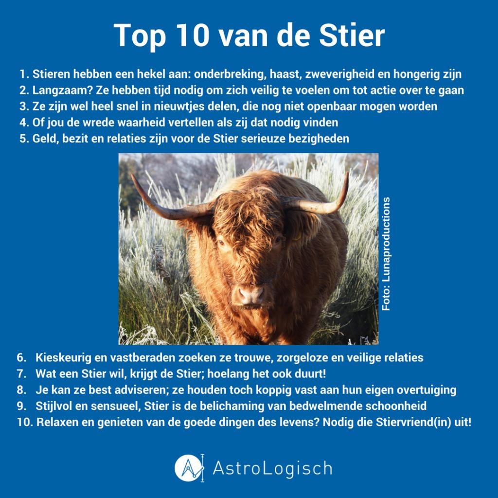 AstroLogisch Top 10 van de Stier