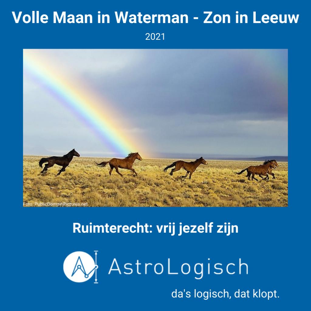 AstroLogisch Volle Maan in Waterman - Zon in Leeuw 2021 ruimterecht vrij jezelf zijn